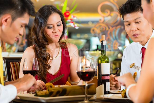 Stockfoto: Chinese · paren · wijn · restaurant · twee