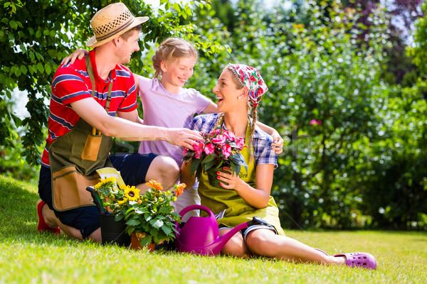 Stock photo: Family gardening in Garden having fun
