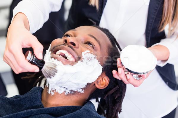 Klant barbier winkel room vrouw man Stockfoto © Kzenon
