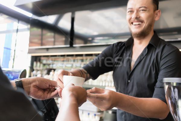 Dostça barmen espresso kahve müşteri Stok fotoğraf © Kzenon