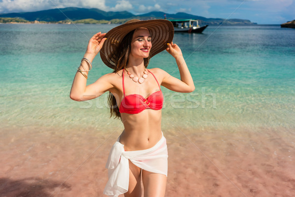 Fashionable young woman smiling while posing during summer vacat Stock photo © Kzenon