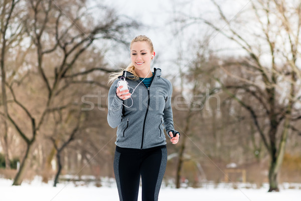 Сток-фото: женщину · работает · вниз · пути · зима · день