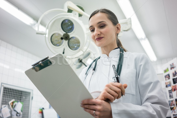 Doctor in Clinic Operation Theater with clipboard Stock photo © Kzenon