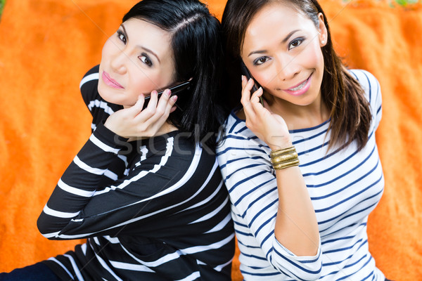 Two Asian girlfriends with phone Stock photo © Kzenon