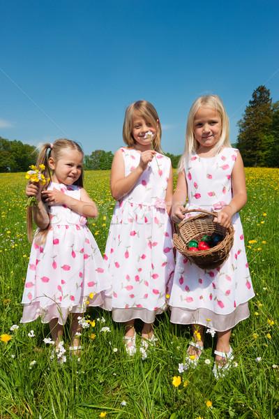 Bambini easter egg hunt prato primavera guardando Foto d'archivio © Kzenon