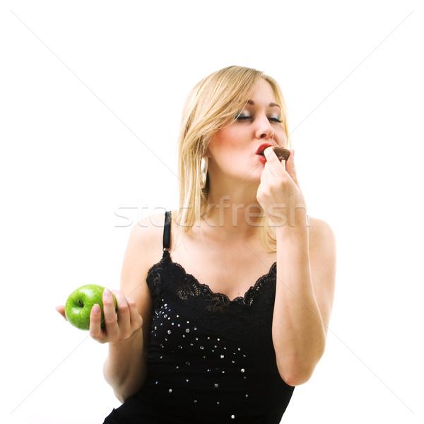 Eten chocolade niet vruchten voedsel gezonde Stockfoto © Kzenon