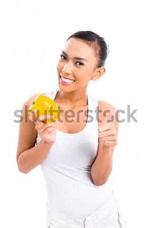 Asiático mulher alimentação vida saudável jovem Foto stock © Kzenon