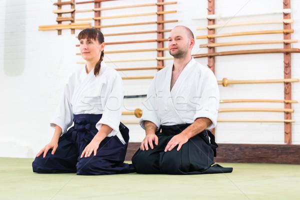 Leraar student aikido vechtsporten school man Stockfoto © Kzenon