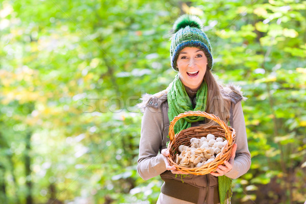 Woman with basket full of champignons in forest Stock photo © Kzenon