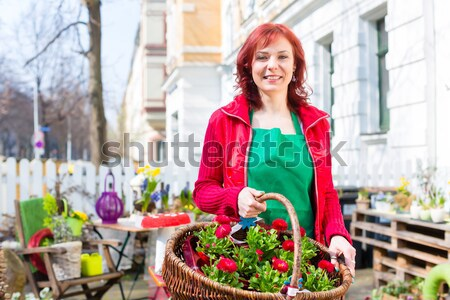 Florist delivering basket of flowers or viola Stock photo © Kzenon