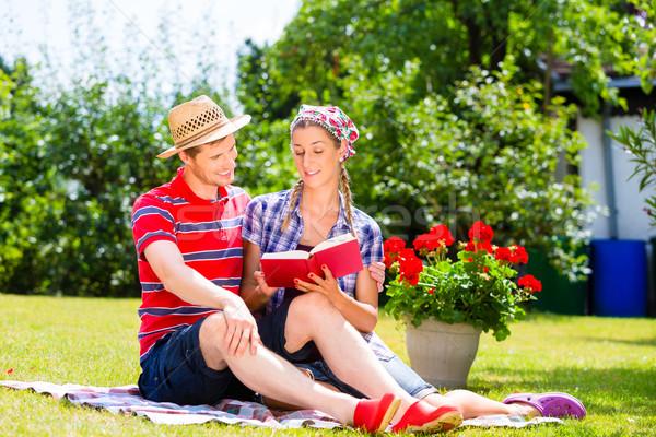 пару саду чтение книга женщину Сток-фото © Kzenon