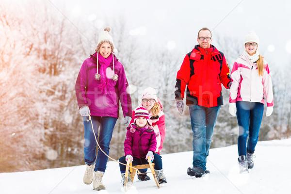 Family having winter walk in snow with sled Stock photo © Kzenon