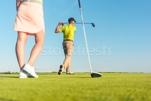 Férfi játszik profi golf partner teljes alakos Stock fotó © Kzenon