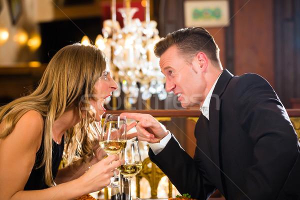 Casal restaurante brigar romântico data Foto stock © Kzenon