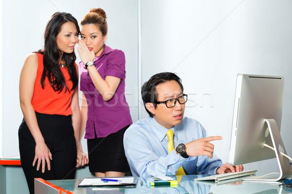 ázsiai nők megfélemlítés kolléga iroda alkalmazott Stock fotó © Kzenon