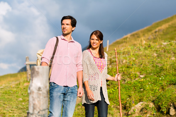 Alps - Couple hiking in Bavarian mountains Stock photo © Kzenon