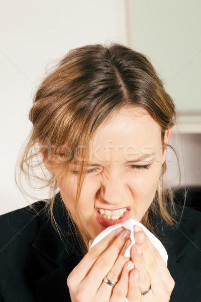 Femme grippe allergie virus adulte Photo stock © Kzenon
