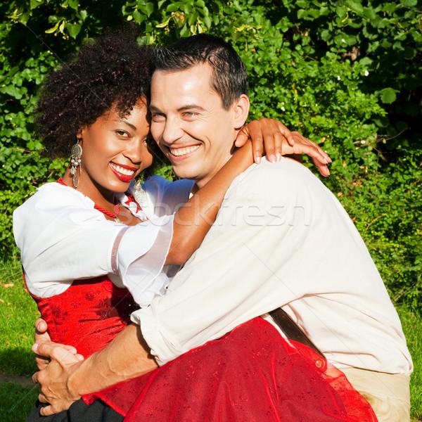 Paar traditionellen Kleid Lederhosen Frau Liebe Stock foto © Kzenon