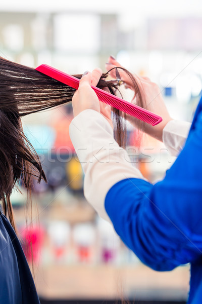 Hairdresser cutting woman hair in shop Stock photo © Kzenon