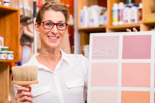 Belsőépítész festék minta kártya nő festmény Stock fotó © Kzenon