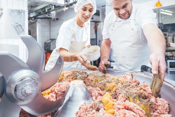 Stockfoto: Specerijen · vlees · worstjes · business · man