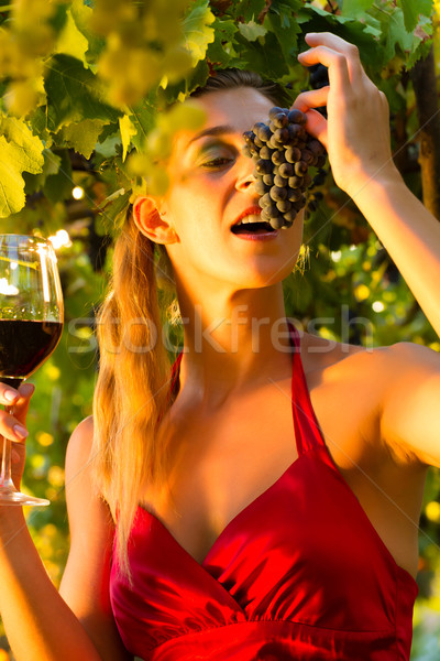 Woman with wine glass eating grapes Stock photo © Kzenon