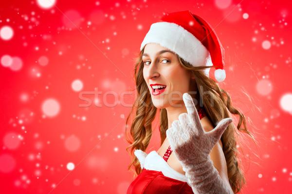 Santa Claus woman wanting you to come over Stock photo © Kzenon