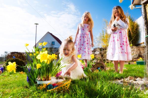 Bambini easter egg hunt coniglio prato primavera primo piano Foto d'archivio © Kzenon