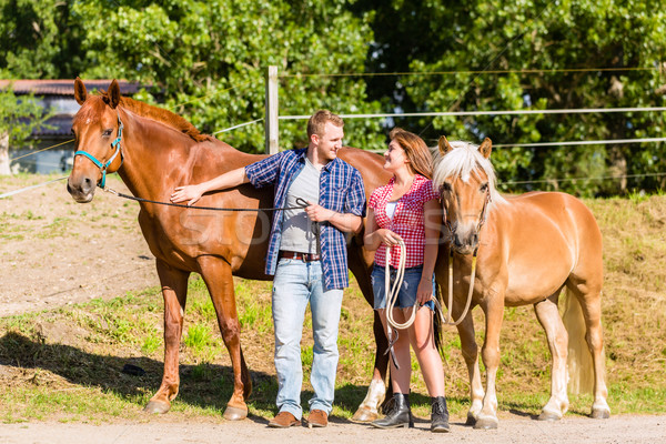 Couple petting horse on pony stable Stock photo © Kzenon