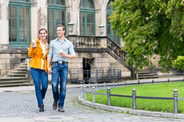 Stock photo: Couple in Dresden at Zwinger with coffee