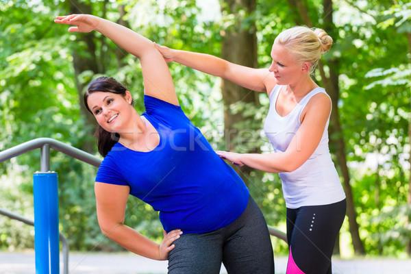 тонкий избыточный вес женщину тренировки вместе улице Сток-фото © Kzenon
