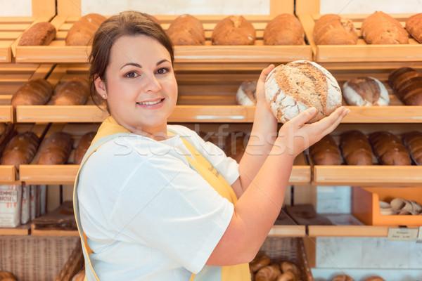 Pékség bolt bemutat kenyér potenciál vevő Stock fotó © Kzenon