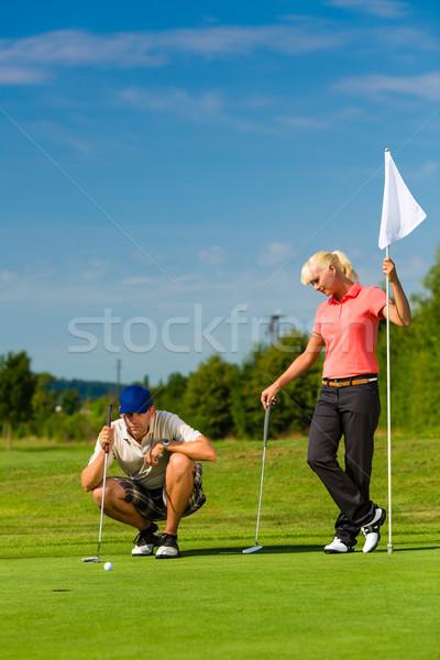 Stockfoto: Jonge · paar · spelen · golfbaan · vrouw