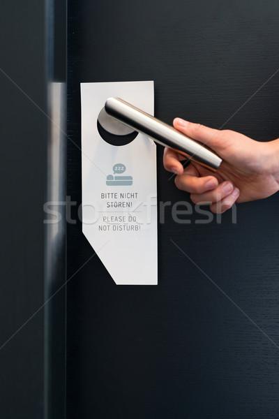 Nem felirat szoba ajtó hotel hotelszoba Stock fotó © Kzenon