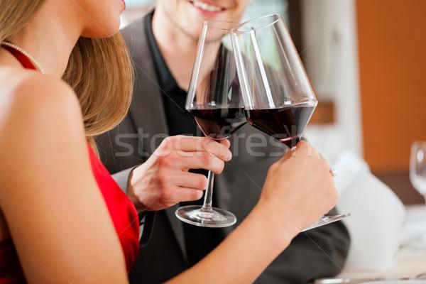 Borkóstolás étterem pár bor férfi bár Stock fotó © Kzenon