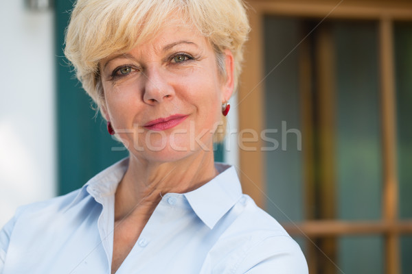 Portre zarif kıdemli kadın bakıyor Stok fotoğraf © Kzenon