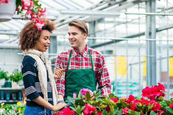 Beautiful young woman talking with friendly worker at flower shop Stock photo © Kzenon