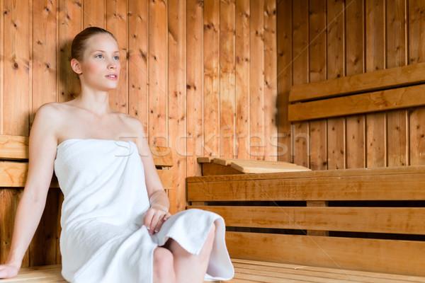 Nő wellness fürdő élvezi szauna fiatal nő Stock fotó © Kzenon