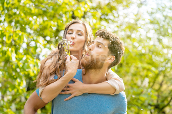 Woman and man on a meadow in romantic mood Stock photo © Kzenon