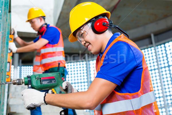 Stok fotoğraf: Asya · inşaat · işçiler · delme · Bina · duvarlar