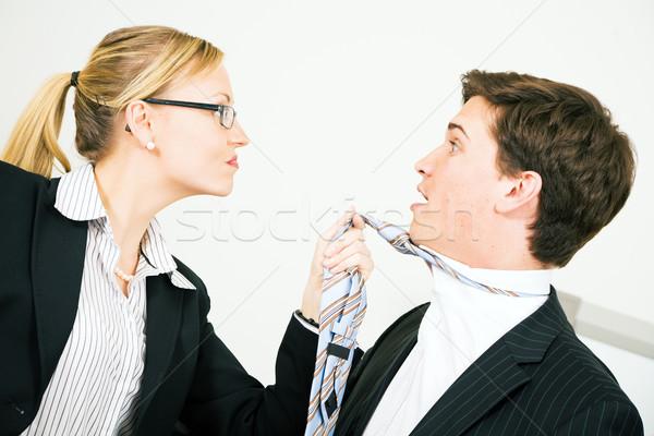 Intimidatie zakenvrouw collega stropdas business werk Stockfoto © Kzenon