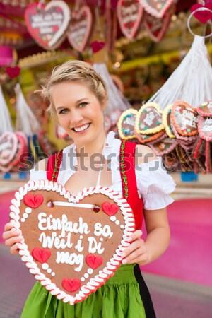 Kadın balon oktoberfest mutlu genç Stok fotoğraf © Kzenon