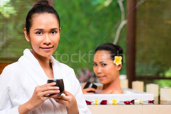 Zdjęcia stock: Indonezyjski · kobiet · wellness · kąpieli · pitnej · herbaty