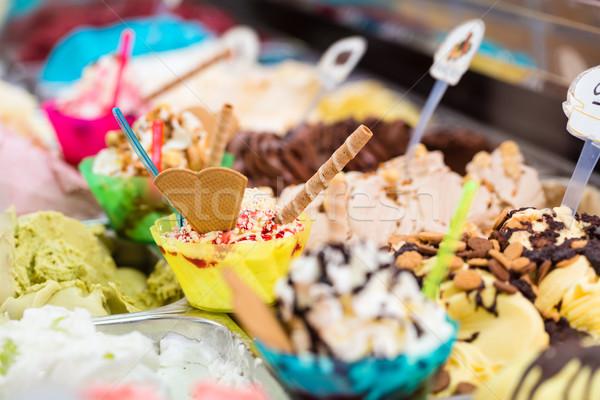 Muitos diferente sorvete gelo verão morango Foto stock © Kzenon