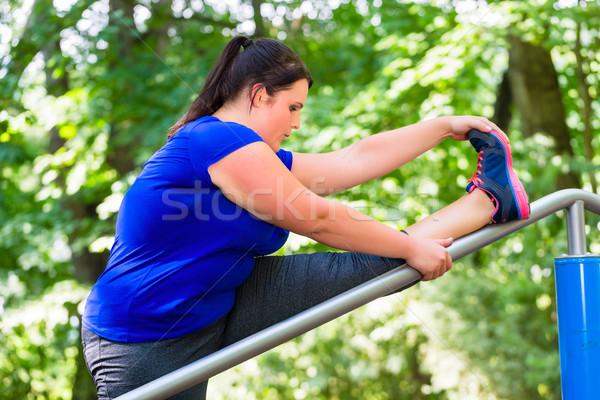Fettleibig Frau Sport Dehnung Freien Park Stock foto © Kzenon
