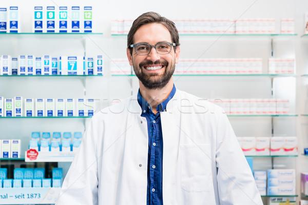 аптека Постоянный шельфа наркотики человека рабочих Сток-фото © Kzenon