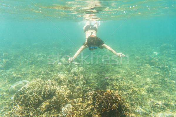 Woman snorkelling over floor of tropical sea  Stock photo © Kzenon