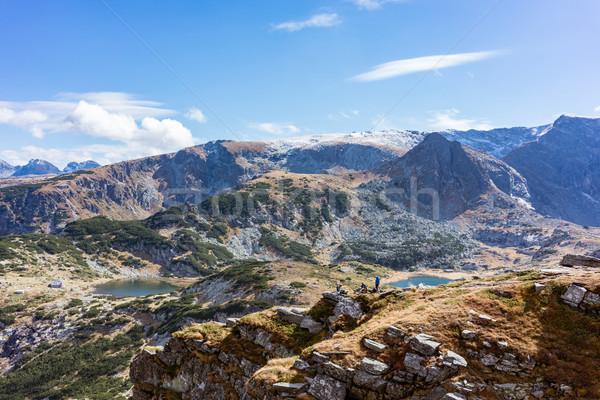 Kilátás hét tó régió hegyek Stock fotó © Kzenon