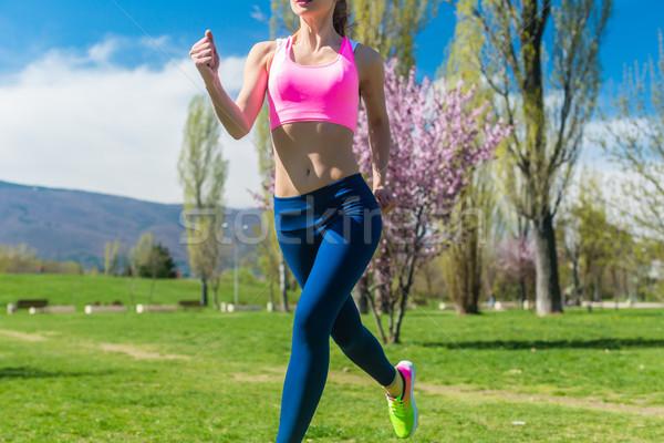 Torso vrouw lopen jogging voorjaar dag Stockfoto © Kzenon