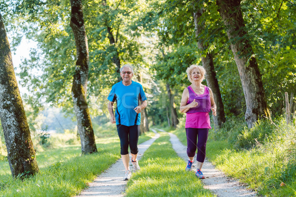 Two active seniors with a healthy lifestyle smiling while jogging together Stock photo © Kzenon